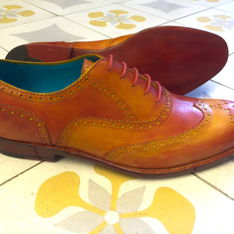 Dominique-Saint-Paul-orange-brogues-Goodyear-dress-shoes-hand-colouring-patina-made-to-order-MTO-wing-tips-full-brogue-shoes