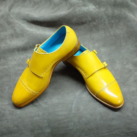 Dominique-Saint-Paul-yellow-double-monk-shoes-patina-hand-colouring-Goodyear-welted-dress-mens-shoes-leather