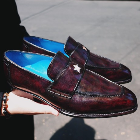 Dominique-Saint-Paul-patina-hand-coloured-loafers-shoes-Goodyear-welted