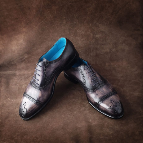 Dominique Saint Paul half brogue dress shoes with washed effect vintage patina hand coloured saigon ho chi minh city vietnam